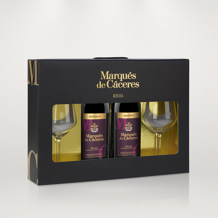 RESERVA case 2 bottles + 2 glasses